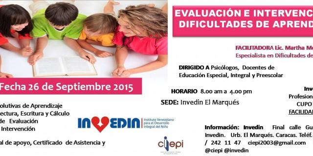Evaluación e Intervención en dificultades de aprendizaje