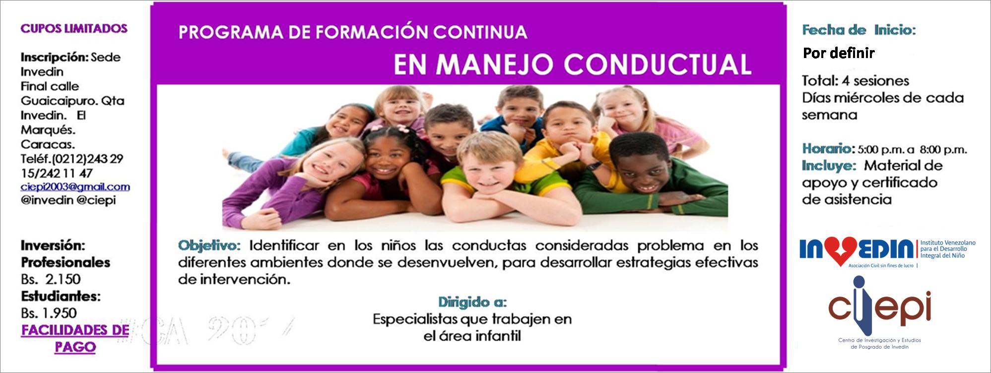 PROGRAMA DE FORMACIÓN CONTINUA EN MANEJO CONDUCTUAL
