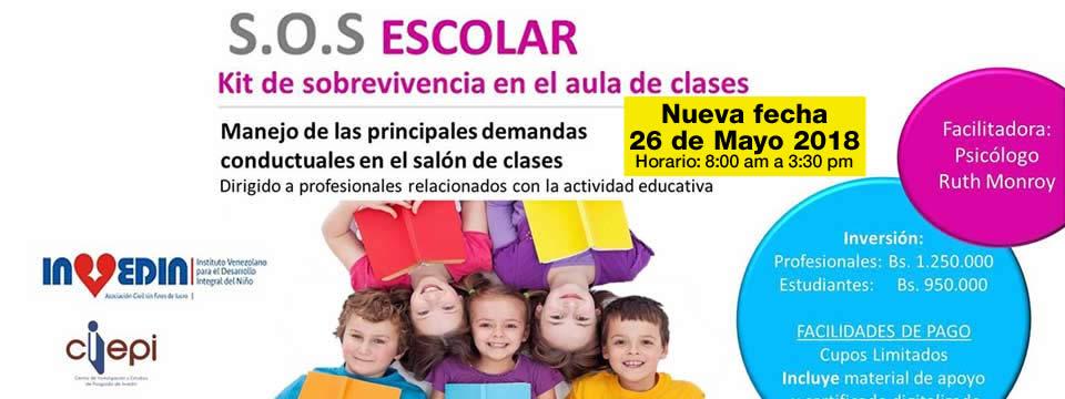 Nueva fecha Taller S.O.S Escolar Kit de sobrevivencia en el aula de clases